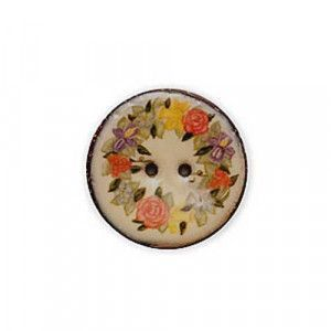Exotic Buttons 14802 - Roses Enamel Coconut
