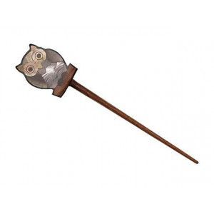 Exotic Shawl Pins 25503 - Owl Inlaid Shell-Wood Stick