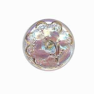 Czech Glass Buttons 01 -  Flower Gold-Pearl 27 mm