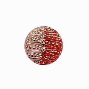 Czech Glass Buttons 74 - Indented Rose-Red 22 mm