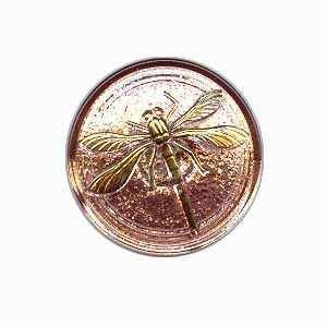 Czech Glass Buttons 89 - Dragonfly Gold Cooper 31 mm