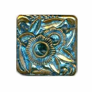 Czech Glass Buttons 199 - Square Blue-Gold 25 mm
