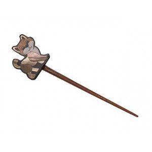 Exotic Shawl Pins 25501 - Kitty Inlaid Shell-Wood Stick