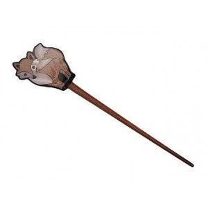 Exotic Shawl Pins 25505 - Fox Inlaid Shell-Wood Stick