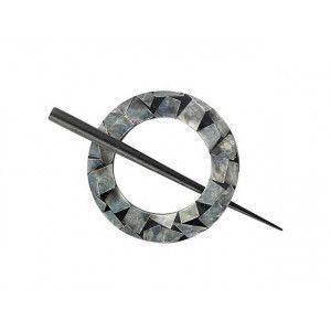 Exotic Shawl Pins 30502 - Black Shell Round
