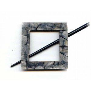 Exotic Shawl Pins 30503 - Black Shell Square