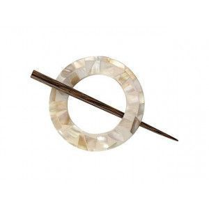 Exotic Shawl Pins 30702 - MOP Round Shell