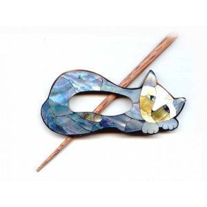 Exotic Shawl Pins 41001 - Inlaid Mother of Pearl Cat