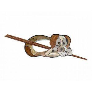 Exotic Shawl Pins 41002 - Inlaid Shell-Wood Brown Dog
