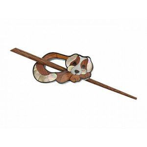 Exotic Shawl Pins 41003 - Inlaid Shell-Wood Little Puppy