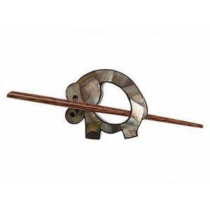 Exotic Shawl Pins 41204 - Inlaid Shell Elephant
