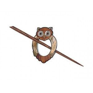 Exotic Shawl Pins 41208 - Inlaid Shell-Wood Owl