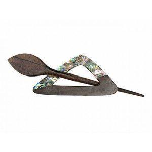 Exotic Shawl Pins 42601 - Paua Shell-Tiger Wood Triangle