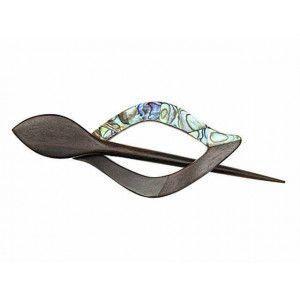 Exotic Shawl Pins 42701 - Paua Shell-Tiger Ebony Wood Loop