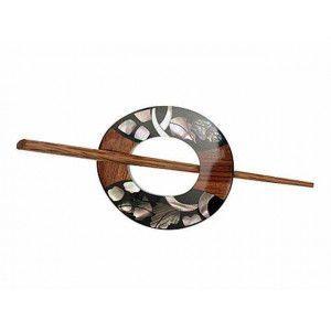 Exotic Shawl Pins 42801 - Inlaid Shell-Tiger Ebony Garland
