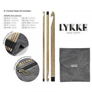 "Lykke Driftwood Crochet Hooks 6"" Gift Set in Grey Denim Pouch"