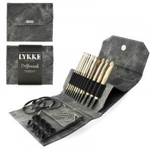 Lykke Driftwood Interchangeable Tunisian Crochet Hooks Set in Grey Denim Pouch