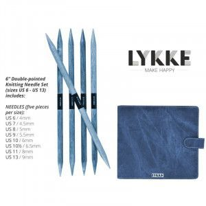 Lykke Driftwood Double Pointed Needles Set LARGE in Indigo Pouch
