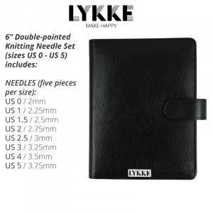Lykke Driftwood Double Pointed Needles Set SMALL in Faux Leather Pouch