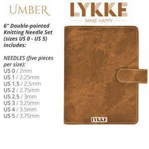 Lykke Indigo Double Pointed Needles Set SMALL in Umber Pouch