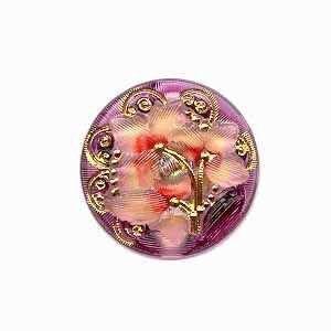 Czech Glass Buttons 04 - Flower Rose-Gold-Wine 27 mm