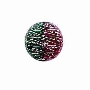 Czech Glass Buttons 13 - Indented Green-Wine 22 mm