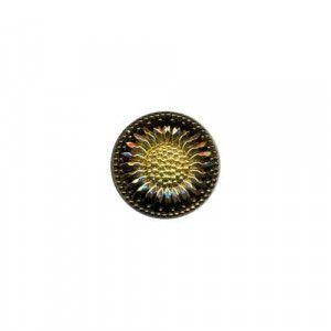 Czech Glass Buttons 80 - Daisy Flower Black-Gold 27 mm