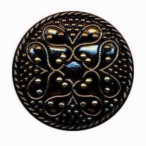 Czech Glass Buttons 102 - Cross Black-Gold 32 mm