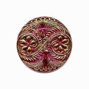 Czech Glass Buttons 142 - Spiral Pink-Gold 32 mm