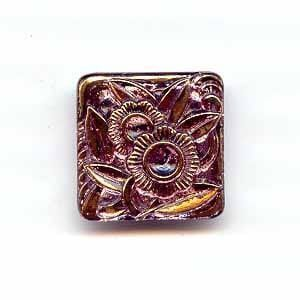 Czech Glass Buttons 144 - Square Rose-Gold 25 mm