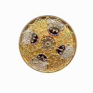 Czech Glass Buttons 147 - Cross Silver-Gold 32 mm