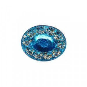 Czech Glass Buttons 165 - Oval Blue-Gold 50 mm