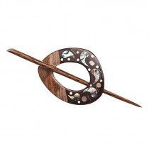 Buttons.etc Exotic Shawl Pins, 42804 - Inlaid Shell/Wood