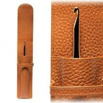 Leather Single Crochet Hook Holder - Tan
