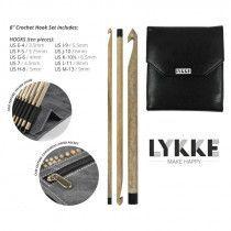 """Lykke Driftwood Crochet Hooks 6"""" Gift Set in Faux Leather Pouch"""