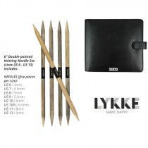 Lykke Driftwood Double Pointed Needles Set LARGE in Faux Leather Pouch
