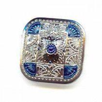 Czech Glass Buttons 141 - Square Silver-Blue 33 mm
