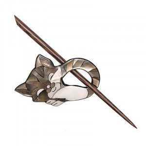 Exotic Shawl Pins 41301 - Inlaid Shell Sleeping Cat