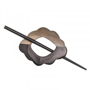 Buttons.etc Exotic Shawl Pins, 61101 - Black/Beige Horn
